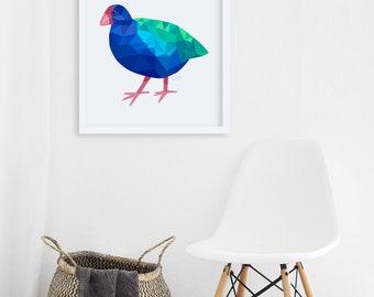 Takahe print, Takahe art, New Zealand bird art, New Zealand animal art, Kiwi art, Gift from New Zealand, Kiwiana art, New Zealand paintings