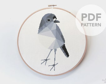 New Zealand cross stitch art, Robin cross stitch, Bird cross stitch, Kiwiana cross stitch, Easy cross stitch, Kiwi embroidery, Kiwi artist
