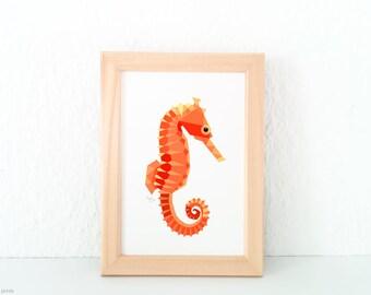Seahorse illustration, Nursery illustrations, Sea creatures decor, At the seaside, Beach art, Seahorse print, Orange geometric, Ocean theme