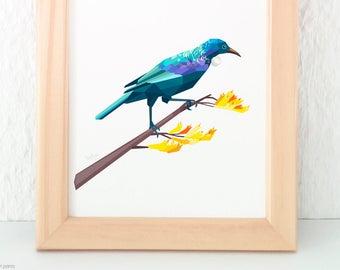 Tui, New Zealand Bird, Kiwiana, Kiwi art, Geometric print, Kiwi illustration, Bellbird, Tui print, tinykiwi, Bird art, New Zealand poster