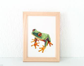 Frog illustration, Frog print, Geometric frog, Minimal nursery art, Amazon wildlife, Frog nursery print, Green print, Frog painting, 8x10