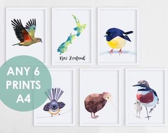 Set of 6, Pick your own, Print set, New Zealand prints, New Zealand art, New Zealand birds, Kiwi art, Tui art, Nursery set of 6 prints