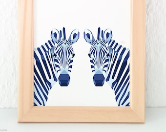 Zebra print, Zebra illustration, Safari nursery, Zebra decor, Zebra wall art, Geometric zebra, Nursery animal art, Animal pair wall art