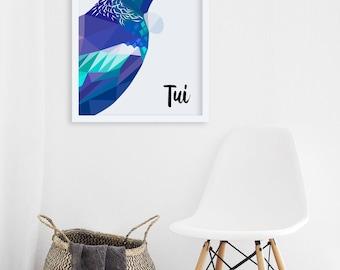 Tui print, Tui illustration, Native New Zealand birds, New Zealand art, Kiwiana, Kiwi print, NZ artist, New Zealand postcard, Tui card, Gift