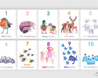 Number art, Learning to count art, 1 - 10 prints, 123 wall art, Alphabet art, Animal decor, Child educational art, Learning baby nursery art
