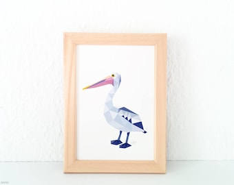 Pelican bird art, Pelican print, Pelican illustration, Australian seabirds, Coastal birds, Ocean art, Australian birds, Australian wildlife