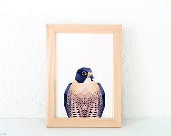 New Zealand Falcon bird, Falcon print, Bird of prey, Hunting birds, Falcon wall art, Geometric falcon, Bird art, Kiwi bird art, Kiwi artist