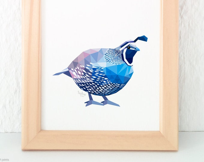 Quail print, Quail illustration, Geometric quail, Blue bird, Wildlife art, Bird watcher art, Quail decor, Quail painting, Quail wall art