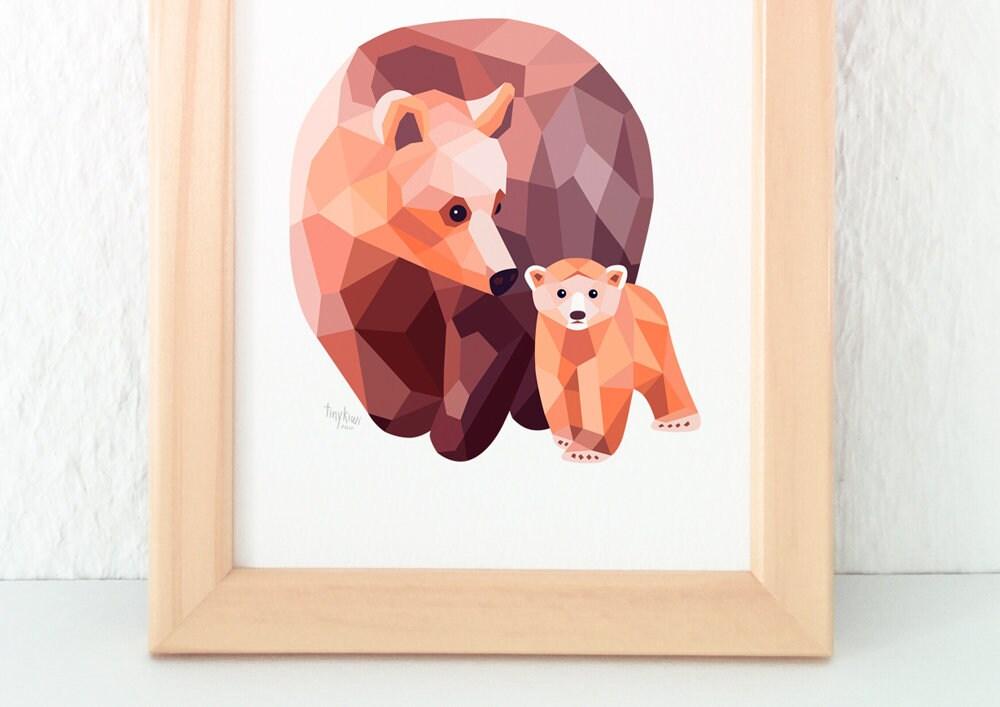 Bear Illustration Mother Art Baby Decor Nursery Childrens Cute Kids Minimalist