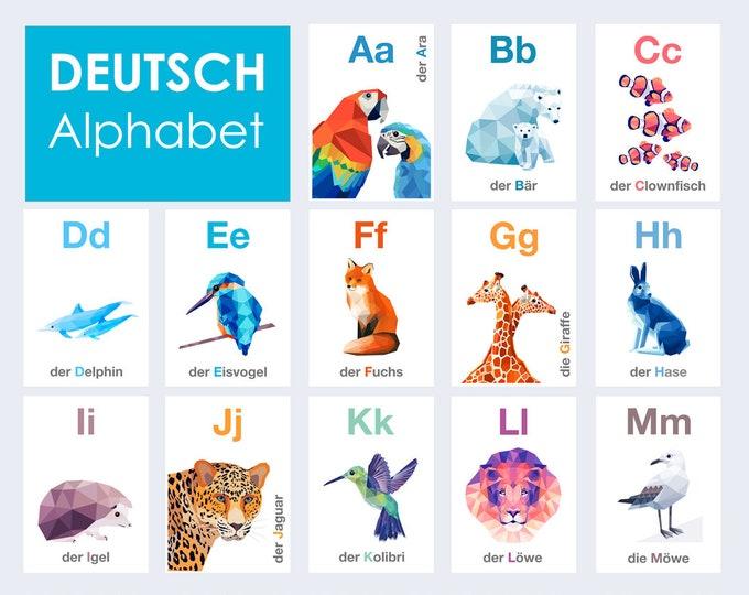 German Alphabet print set, Deutsche Alphabet, ABC flash cards, Alphabet art, Animal alphabet, Nursery ABC art, Baby nursery alphabet,