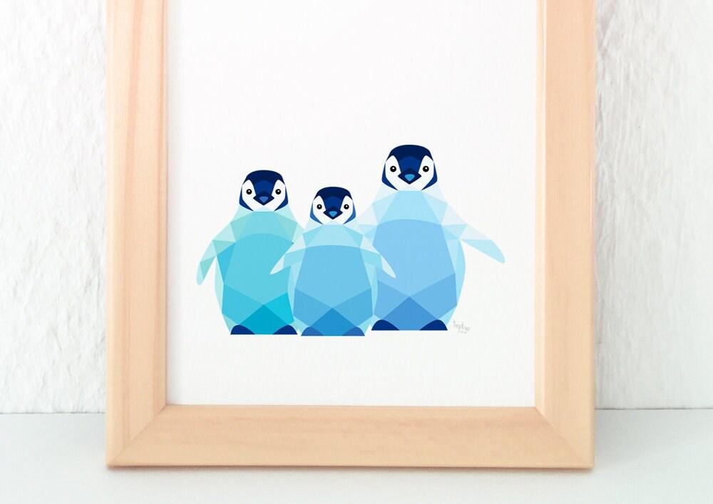 Baby penguin nursery art Cute penguin print Penguin illustration
