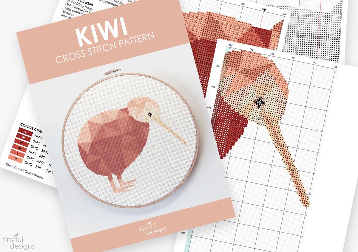 Kiwi cross stitch pattern, New Zealand cross stitch, Kiwi