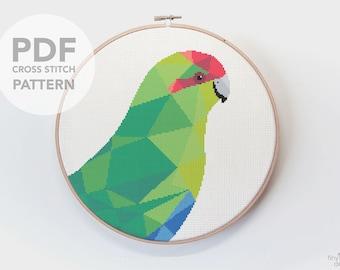 New Zealand cross stitch, Kakariki art, Counted cross stitch, Cute bird cross stitch, Modern cross stitch, Kiwi cross stitch, Embroidery art