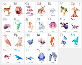 ABC art, ABC flashcards, Alphabet wall art, ABC print, Homeschool resource, Alphabet decor, Alphabet art, Animal alphabet, Nursery alphabet