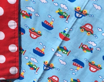 Flannel Baby Blanket / Kid Car Blanket / Shower Gift- Cars, Boats and Trains on Blue, Personalization Available