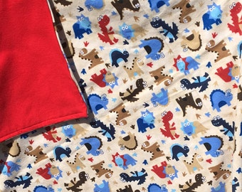Flannel Baby Blanket / Kid Car Blanket - Dinosaurs Dinos on Tan with Red Back, Personalization Available