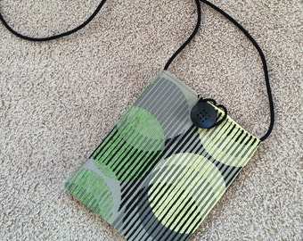 Mod Yellow, Green Gray Circles on Black Pouch Bag, Cross Body Shoulder Bag with Yellow Satiny Interior