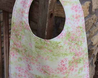 TODDLER Bib: Pale Pink Meadow of Flowers, Personalization Available