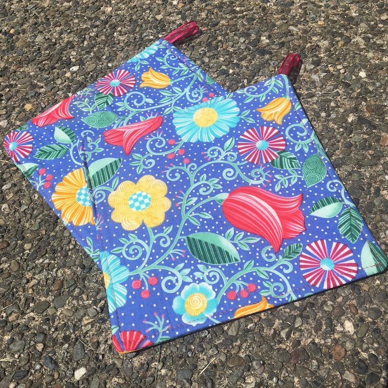 Two Pot Holders  Bright Flowers on Blue with Loops image 0