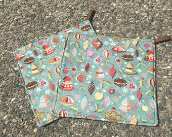 Two Pot Holders - Christmas Ornaments, Decorations, with Loops, Personalization Available
