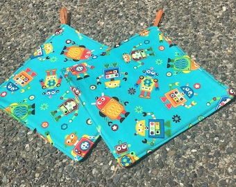 Two Pot Holders - Robots on Aqua, with Loops, Personalization Available