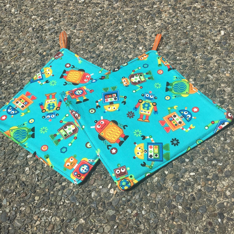 Two Pot Holders  Robots on Aqua with Loops Personalization image 0