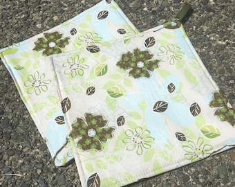 Two Pot Holders - Green and Blue Flowers on Pastel, with Loops, Personalization Available