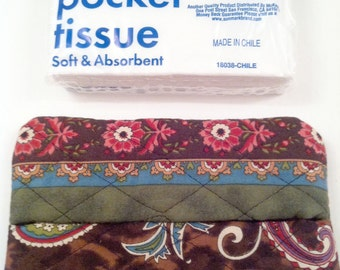 Tissue Case - Multi Colored Flowers and Paisley on Brown