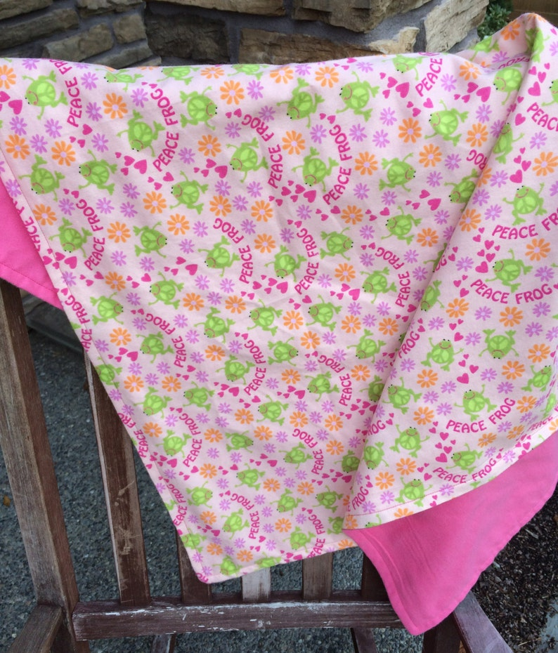 Flannel Baby Blanket / Kid Car Blanket  Peace Frogs and image 0