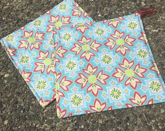 Two Pot Holders - Riley Blake Geometric Pattern on Light Blue, with Loops, Personalization Available