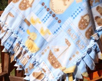 Fleece Blanket - Baby Boy with Woven Edge