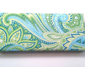 Magic Wallet - Billfold Green and Turquoise Paisley