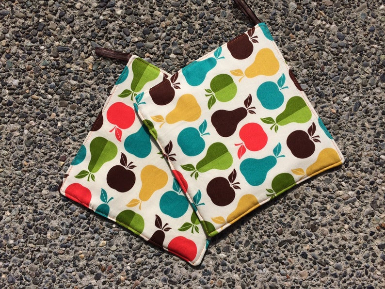 Two Pot Holders  Colorful Fruit Silhouettes with Loops image 0