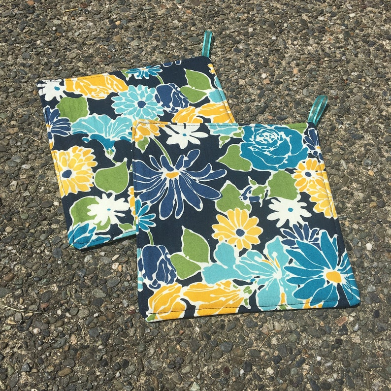 Two Pot Holders  Flowers on Dark Blue with Loops image 0