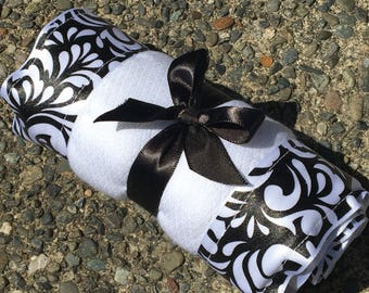 Burp Cloth / Changing Pad: White and Black Swirls, Flowers, Personalization Available