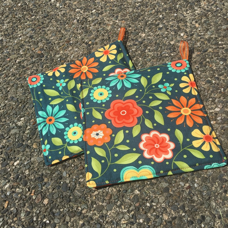 Two Pot Holders  Flowers on Steel Blue with Loops image 0