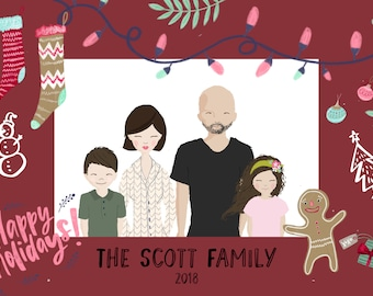 custom family portrait illustration christmas card family holiday card personalized christmas card family cartoon drawing photo holiday card - Personalized Holiday Cards