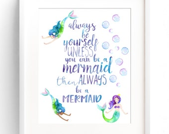 PRINTABLE Mermaid Decor Nursery Wall Art Always Be Yourself Always Be A Mermaid Watercolour Nursery Wall Decor INSTANT DOWNLOAD