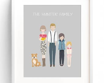 Family Portrait Illustration Custom Family Portrait Drawing Personalized Family Name Print Custom Family Cartoon Housewarming Gift Wedding