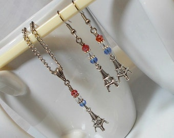 I Love Paris Eiffel Tower Charm Necklace And Dangle Earring Set France Eiffel Tower Necklace And Earring Set