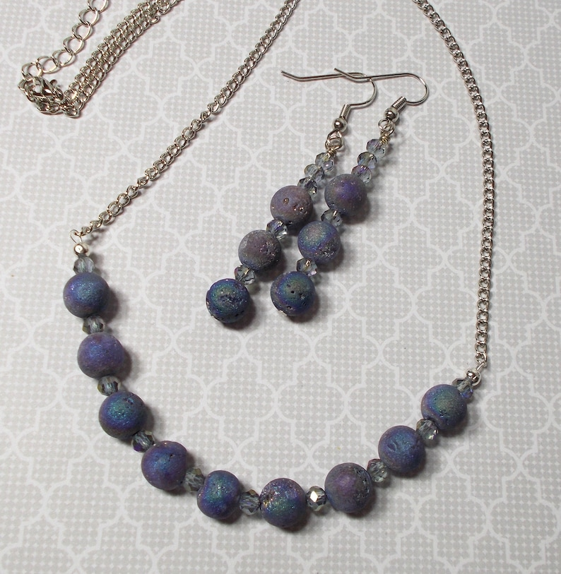 Agate Geode Earring Agate Geode Necklace And Earring Set Agate Geode Necklace Purple Geode Jewelry Purple Earring Purple Necklace