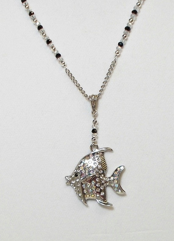 2 x Black Enamel Angel Fish Pendant Charms Rhinestone