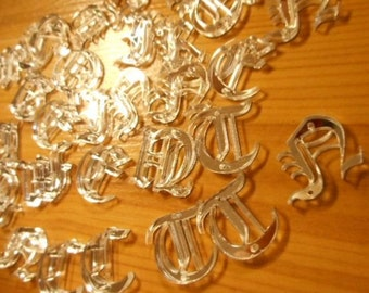 small old english letters,laser cut letters,Old London font,initial pendants,initial letters,laser cut acrylic