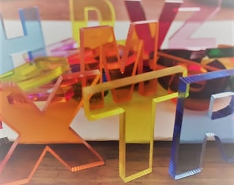 ACRYLIC LETTERS, one inch letters,snapback ,holographic,laser cut letters,initial letters,transparent letters,acrylic names,letters