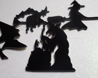 witch charms,laser cut,black cats,bat charms,halloween,cupcake toppers,witches,witch broom