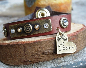 Peace Mini Leather Cuff