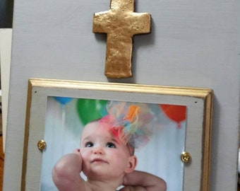 Handmade Wood Frame Franciscan Grey - Distressed aged finish with Gold Cross - Wedding - Baby - House Warming Gift.