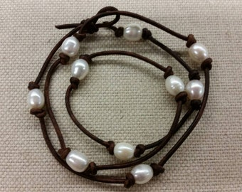 Special - Free Shipping Wrap Bracelet Handmade Freshwater Rice Pearls and Leather - Can be worn as a Necklace Long or Short.