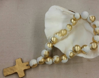Blessing Beads Wood With Gold Leaf Handmade Clay  Cross -  Wedding Gift,  Baby Gift, Housewarming Gift, Bridal Shower Gift.