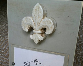 Handmade Painted Wood Picture Frame - Franciscan  Gray aged finish with antique fleur- de -lis the french symbol  for new beginnings.